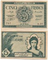 Algeria - 5 Francs 1942 VF Lemberg-Zp - Argelia