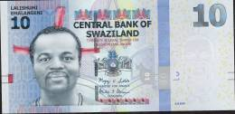 SWAZILAND P36a 10 EMALANGENI 2010  #AA00-----  Issued July 2011   UNC. - Swaziland