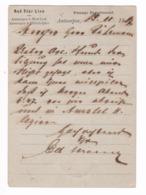 153/30 - BELGIQUE Compagnie Maritime RED STAR LINE - Entier Postal Repiqué ANVERS 1887 Vers ROTTERDAM - Maritiem