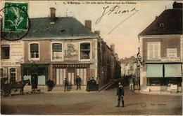 CPA VIBRAYE - Un Coin De La Place Et Rue Du Chateau (299484) - Vibraye