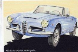 Alfa Romeo Giulia 1600 Spider  -  Art Card By Gérard Crevon De Blainville  -  CPM - PKW