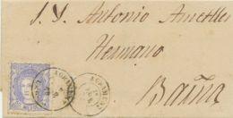 SPANIEN 1870 Hispania M. Mauerkrone 50 M Ultramarin EF A. Pra.-Damenbriefchen - 1870-72 Regencia