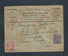 LETTRE COMMERCIALE SUR TIMBRES SAGE CHARGÉ C SAVAÈTE & LALLIER VINS CHAMPAGNE À VINCENNES POUR OB CHATEAU THIERRY : : - 1898-1900 Sage (Type III)