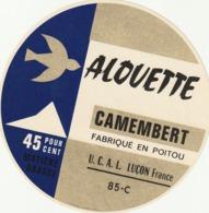 Rare étiquette De Fromage Camembert Alouette - Fromage