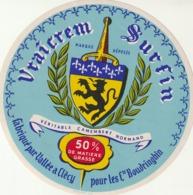 Rare étiquette De Fromage Camembert Vraicrem Sur Fin - Fromage