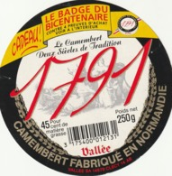 Rare étiquette De Fromage Camembert 1791 Badge Bicentenaire - Fromage