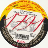 Rare étiquette De Fromage Camembert 1791 Dessine L'affiche Du  Bicentenaire - Fromage