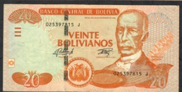 BOLIVIA NLP (B413e) 20 BOLIVIANOS LEY 1986 # J   OBERTHUR FIDUCIAIRE (like P244,not In Cat.2019 )  Sign.92 VF NO P.h. - Bolivia