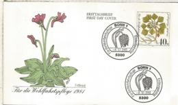 ALEMANIA FDC BONN 1981 FLORES FLOWER NATURE - Vegetales