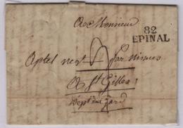 EPINAL (Vosges) 26 X 10, 2 Juin 1818, Pour Saint Gilles (Gard) Taxe Manuscrite 9 Décimes - 1801-1848: Précurseurs XIX