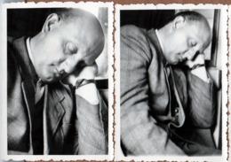 2 Photos Originales Sieste & Farniente Pour Dormeur à La Tête Lourde En Wagon - Homme Endormi - Personnes Anonymes