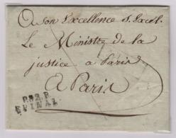 EPINAL (Vosges) Port Payé, 17 Septembre 1811, Pour Paris Taxe Manuscrite 6 Décimes, PPPP Faible - 1801-1848: Precursors XIX