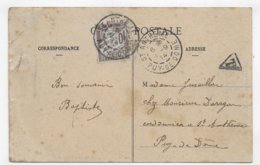 (RECTO / VERSO) BELFORT EN 1914 - LE LION - TIMBRE TAXE - BEAU CACHET - CPA VOYAGEE - 1859-1955 Lettres & Documents
