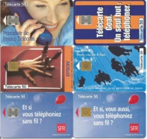 Lot De 10 Télécartes 1995 Différentes Et Utilisées (ARTE SFR EPSON SNCF GOAL Etc...) - 1995