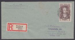 """Mi-Nr. 11, EF Auf R- Brief """"Freiburg"""", 29.12.45, Mit Ankunft - Zone Française"""