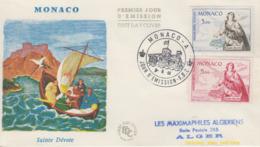 Enveloppe  FDC  1er  Jour  MONACO   Sainte  Dévote   Poste  Aérienne   1961 - FDC