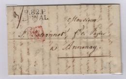EPINAL (Vosges) Port Payé, 2 Novembre 1827, Pour Annonay, Taxe Manuscrite 7 Décimes, - 1801-1848: Précurseurs XIX