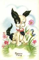 Illustrateur Petit Chien Oiseau Au Milieu Des Fleurs Bonne Fete RV - Perros