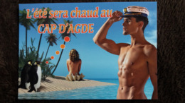 CPM CAP D AGDE 34  COQUILLAGE BENITIER FEMME NUE HOMME NU PINGOUIN L ETE SERA CHAUD ED LARREY - Agde