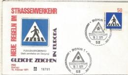 ALEMANIA FDC BONN 1971 SEGURIDAD VIAL ROAD SAFETY - Accidentes Y Seguridad Vial