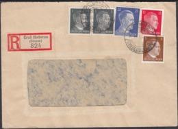 Germany - Reg. Cover, Einschreiben MiF Brief 1Gross Bieberau 2.10.1943. MiNr.781, 782, 788, 793. - Germany