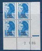 """SPM Coins Datés YT 466 """" Liberté 3F20 Bleu"""" Neuf** Du 2.1.86 - Unused Stamps"""