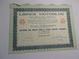 USINES MOTOBLOC (capital 121 Millions) Bordeaux Bastide,gironde - Shareholdings
