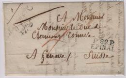 EPINAL (Vosges) Port Payé, Août 1827, Pour Genève, Taxe Manuscrite 4 Décimes + 6 Au Dos, - 1801-1848: Précurseurs XIX