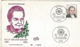 ALEMANIA FDC BONN 1981 ELLY HEUSS KNAPP POLITICA - Mujeres Famosas