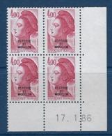 """SPM Coins Datés YT 467 """" Liberté 4F Rouge-carmin """" Neuf** Du 17.1.86 - Unused Stamps"""