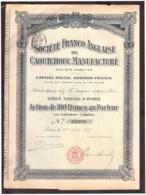 Action De 100 Francs Au Porteur. Société Anonyme Franco Anglaise De Caoutchouc Manufacturé. S.A. 1917. + 20 Coupons - Industrie