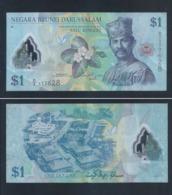 2011 Brunei 1 Dollar $1 Polymer Banknote Currency Paper Money (#148) Fine - Brunei