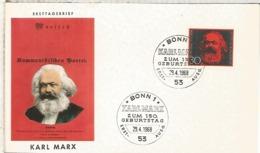 ALEMANIA FDC BONN 1968 CENTENARIO KARL MARX COMUNISMO - Karl Marx