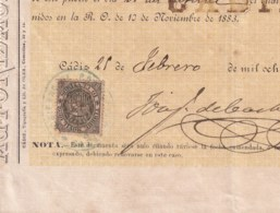 E6386 ESPAÑA SPAIN AUTORIZACIÓN DE VIAJE A LA HABANA ANTILLES REVENUE MOVIL 1892 - Historical Documents
