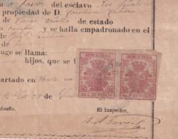 E6393 CUBA SPAIN 1875 CEDULA DE ESCLAVO SLAVE SLAVERY REVENUE POLICE STAMP - Historical Documents