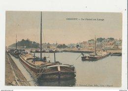 02 CHAUNY LE CANAL AU LARGE PENICHES CPA BON ETAT - Chauny