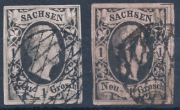 Sachsen 4 II A Gest.Vollgitter - 2 Nuancen - Saxony