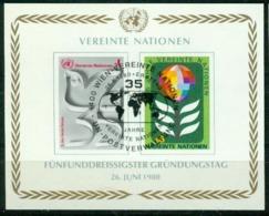 Bm UN Vienna 1980 MiNr Block 1 (12-13 B) Sheet Used | 35th Anniv Of United Nations - Centre International De Vienne