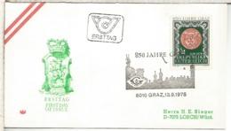 AUSTRIA FDC 1978 850 JAHRE GRAZ ARQUITECTURA - Monumentos