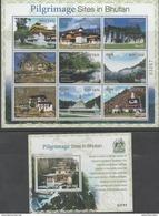 BHUTAN ,2017, MNH, BUDDHISM, PILGRIMAGE SITES IN BHUTAN, TEMPLES, MOUNTAINS,  SHEETLET+S/SHEET - Buddhism
