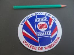 Autocollant - Ville - WASQUEHAL Collège 1989 - Pegatinas