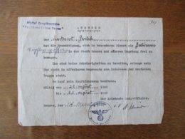 """AUSWEIS RENNES DEN 12 AUGUST 1940 HÔPITAL COMPLEMENTAIRE """"FACULTE DES LETTRES,RENNES"""" - Documenti"""