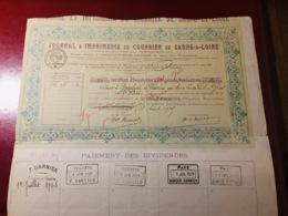 JOURNAL  &  IMPRIMERIE  Du  COURRIER  De  SAÔNE - & - LOIRE--- Certificat  De  2  Obligations - Industry