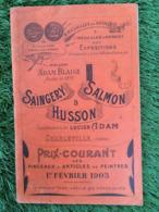 CATALOGUE SAINGEY SALMON ET HUSSON CHARLEVILLE ARDENNES PINCEAUX ET ARTICLE DE PEINTRE - France