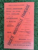 CATALOGUE 1914 SOCIETE INDUSTRIELLE FRANCAISE USINES DE GARGAILHAN  30 RUE DE SOLFERINO BEZIERS - 1900 – 1949
