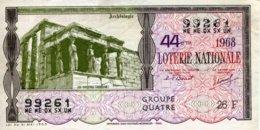 """BILLET DE LOTERIE De 1968 Sur Le Thème """"Archéologie : LES CARIATIDES (Erechteion)"""" - Billets De Loterie"""