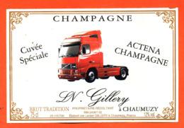 étiquette De Champagne Brut Cuvée Spéciale Actena Champagne Lucien Gillery à Chaumuzy - Camion Tracteur Volvo - 75 Cl - Champagne