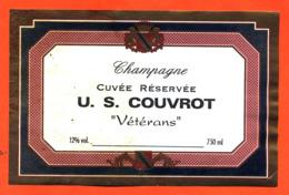 étiquette De Champagne Brut Cuvée Réservée U S Couvrot Vétérans Football - 75 Cl - Soccer