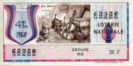 """BILLET DE LOTERIE De 1968 Sur Le Thème """"Les Arts : LA MUSIQUE"""" - Billets De Loterie"""