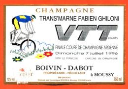 étiquette De Champagne Brut Trans'marne VTT Finale Coupe De France 7 Juillet 1996 Boivin Dabot à Moussy - 75 Cl - Cyclisme
